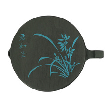 1pc Student Ink Grinding Stone 4 Inch Orchid Pattern Design Ink Plate with Cover