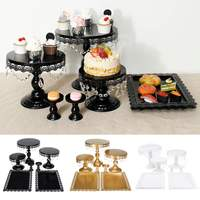 7PCS Cake Stand Set Cupcake Display Holder Home Birthday Party Wedding Decorations Cake Tools Kitchen Bakeware Gold White Black