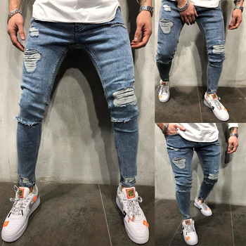 2020 Men Stretch Distressed Denim Jeans Streetwear Hip Hop Skinny Jeans ripped jeans for men skinny jeans for men distressed stretch jeans ice blue ripped skinny jeans slim fit dropshipping supply white tape design