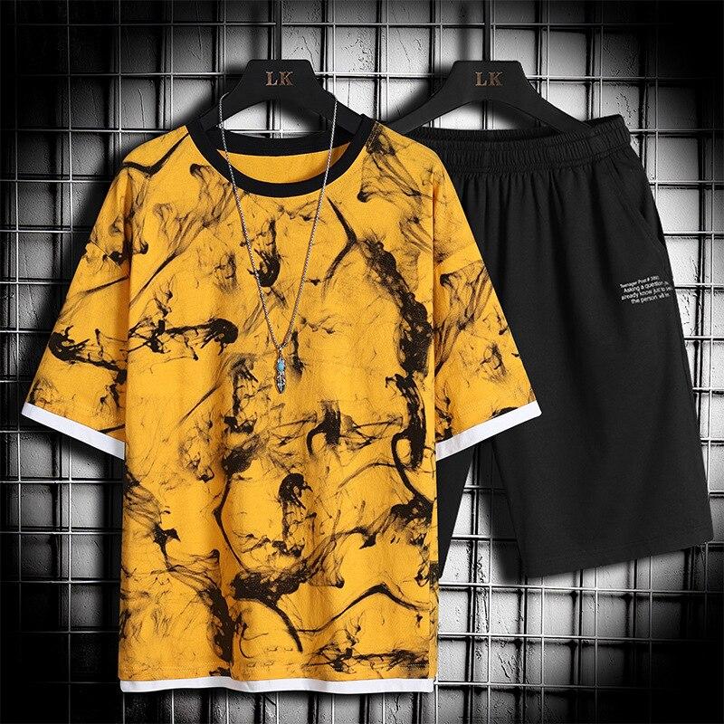 Мужской спортивный костюм из 2 предметов, Повседневная футболка с коротким рукавом и шорты, размеры до 4XL, лето 2021