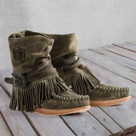 2019 nouvelles femmes frange bottines rétro solide daim talon bas femme automne fermeture éclair décontracté gland chaussons Botas Mujer