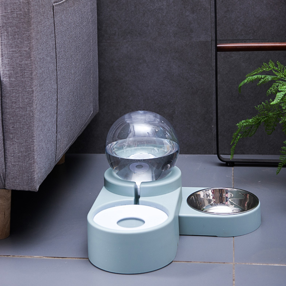 Bubble Pet Bowls Food Automatic Feeder Fountain Water Drinking Two Large Bowl Feeding Container For Dog Kitten Cat Supplies