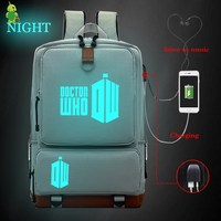 Doctor Who USB Charge Backpack Women Men Multifunction Laptop Backpack School Bags for Teenagers Large Backpack Travel Bags