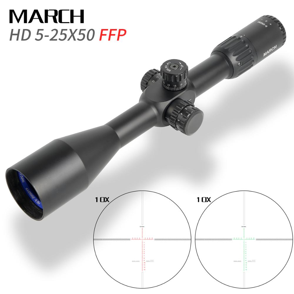 Hunting March FFP 5-25x50 SFIR First Focal Plane Optical Riflescopes Side Parallax R/G Glass Etched Reticle Lock Reset Scope