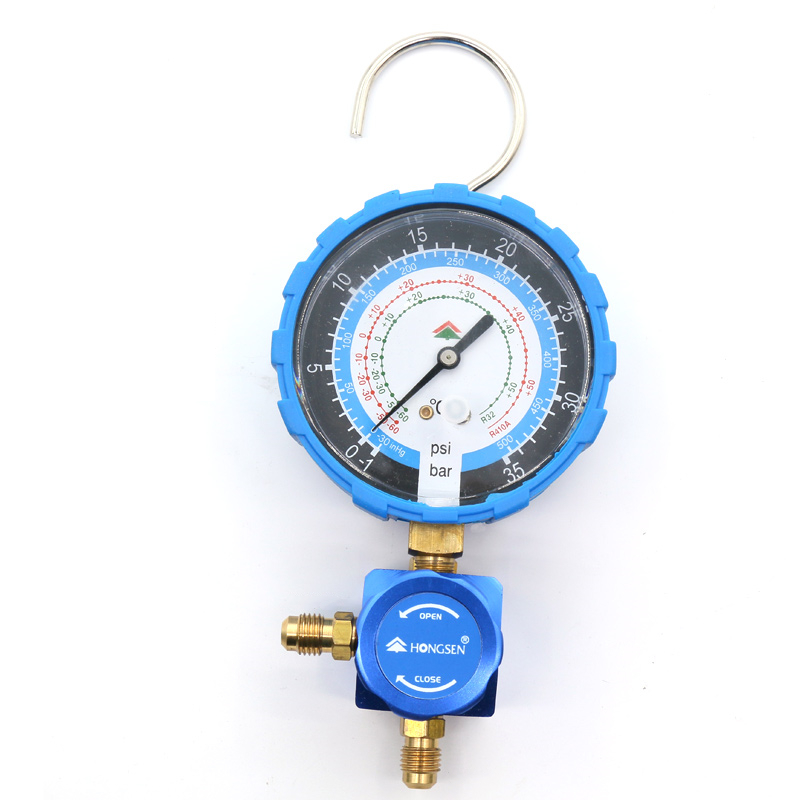 HS-468AL Low Pressure 1-Way Manifold Gauge For R410a R32 Refrigeration Air Conditioning Liquid Meter Snow Table Refrigerant