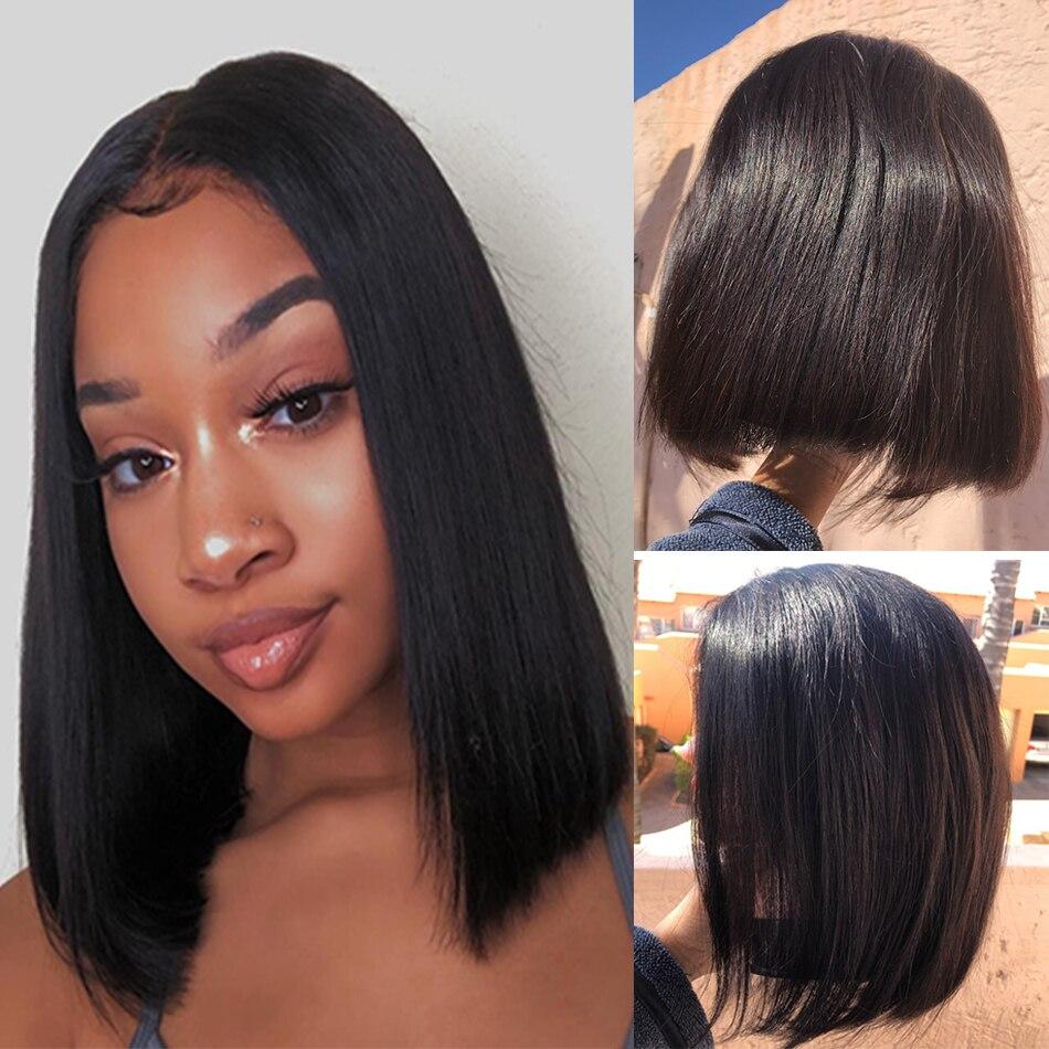 Straight Bob Lace Front Wigs Short Blunt Cut Wig Peruvian Human Hair Wigs For Black Women 130 180 250 Density