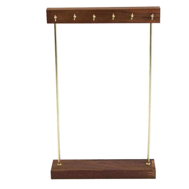 Wooden Jewelry Organizer Holder Rack with Hooks Shelf Hanging Earrings Necklaces Bracelets Storage Accessories