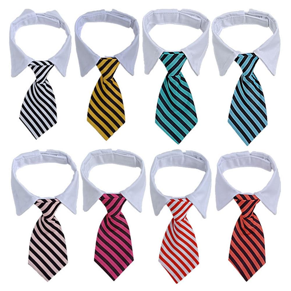 Pet Dog Cat Striped Bow Tie Animal Striped Bowtie Collar Pet Adjustable Neck Tie White Collar Dog Necktie For Party Wedding