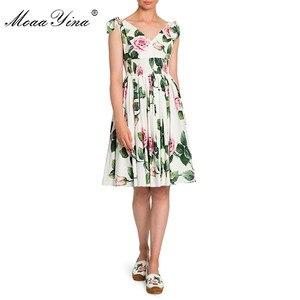 Image 3 - MoaaYina robe de créateur de mode printemps été robe pour femme col en v imprimé fleuri robes de vacances