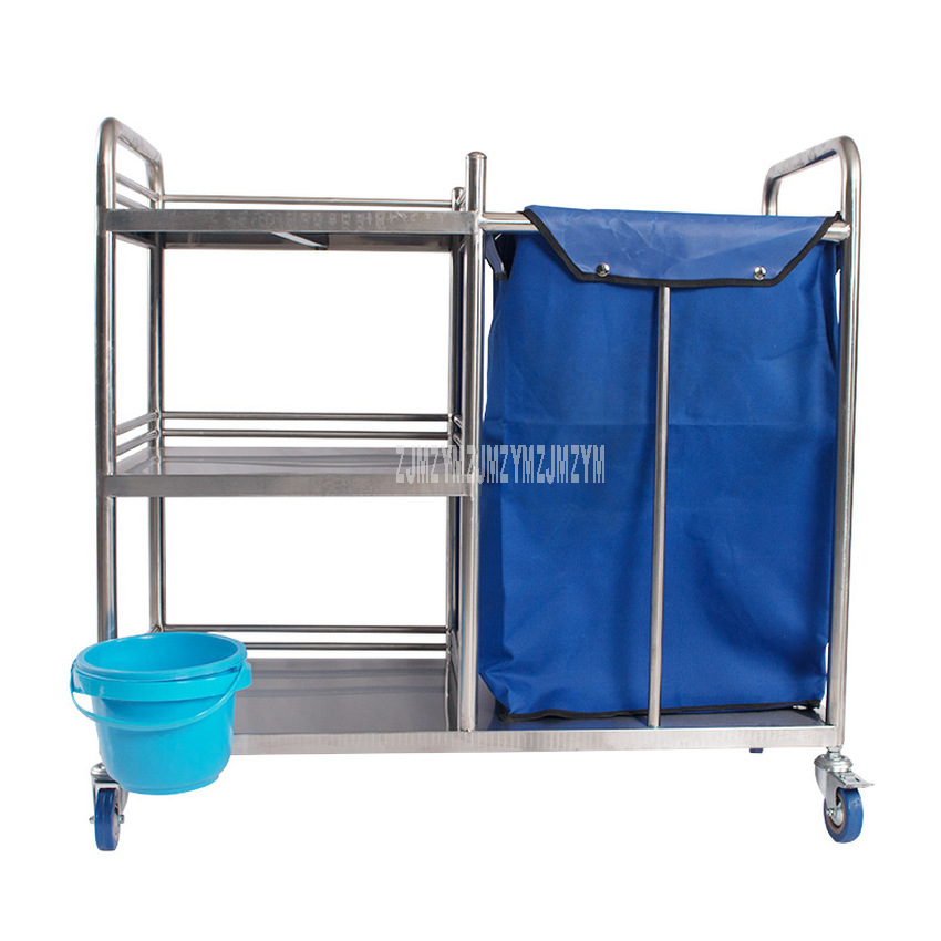 Stainless Steel Rubbish Garbage Quilt Towel Dirt Cart With 4 Universal Wheels Dirt Road Pull Trolley Car For Hospital Hotel