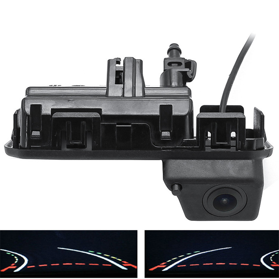 Reverse 1080P Trajectory Tracks Car Rear View <font><b>Camera</b></font> Trunk handle For <font><b>Audi</b></font> Q2 <font><b>Q3</b></font> Q5 A5 A6 VW Passat Bora Skoda karoq Kodiaq image