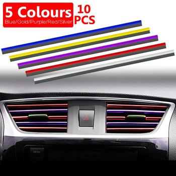 10Pcs Universal 20cm U Shape Car Air Conditioner Outlet Decorative Moulding Trim Strips Auto Accessories image