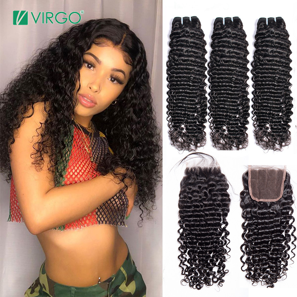 Deep Wave Bundles With Closure Brazilian Hair Weave Bundles 3 Pcs Remy Human Hair Bundles With Closure Volys Virgo Hair