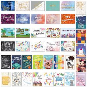 Image 1 - 40PCS Birthday Cards with 40PCS Envelopes Creative Birthday Cards Bulk Box Set Party Supplies