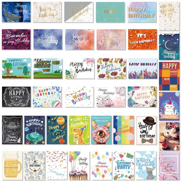 40PCS Birthday Cards with 40PCS Envelopes Creative Birthday Cards Bulk Box Set Party Supplies