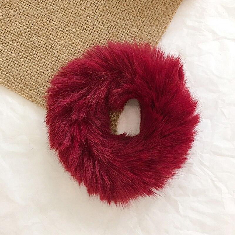 Новые зимние теплые мягкие резинки из кроличьего меха для женщин и девушек, эластичные резинки для волос, плюшевая повязка для волос, резинки, аксессуары для волос - Цвет: 31