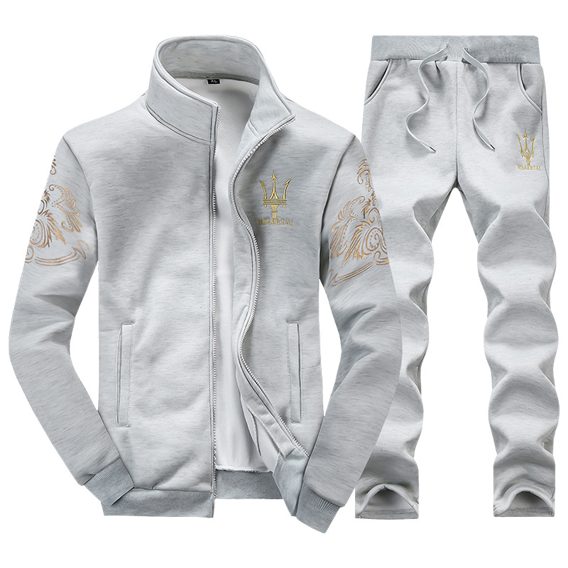 Men's Hoodie Spring And Autumn Set-Style Stand Collar Jogging Suits Casual Sports Youth High School Students Clothes A Set Of Fa