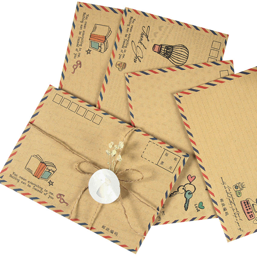 8pcs/pack Vintage Kraft Paper Envelope Airmail Postcard Cover Greeting Cards Envelope For Invitations Stationery Gift Card