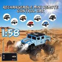 1 pces mini carro rc 2207 pode ser cobrado 1:58 veículo fora de estrada para crianças carro rc carro de alta velocidade led veículos leves presente brinquedo