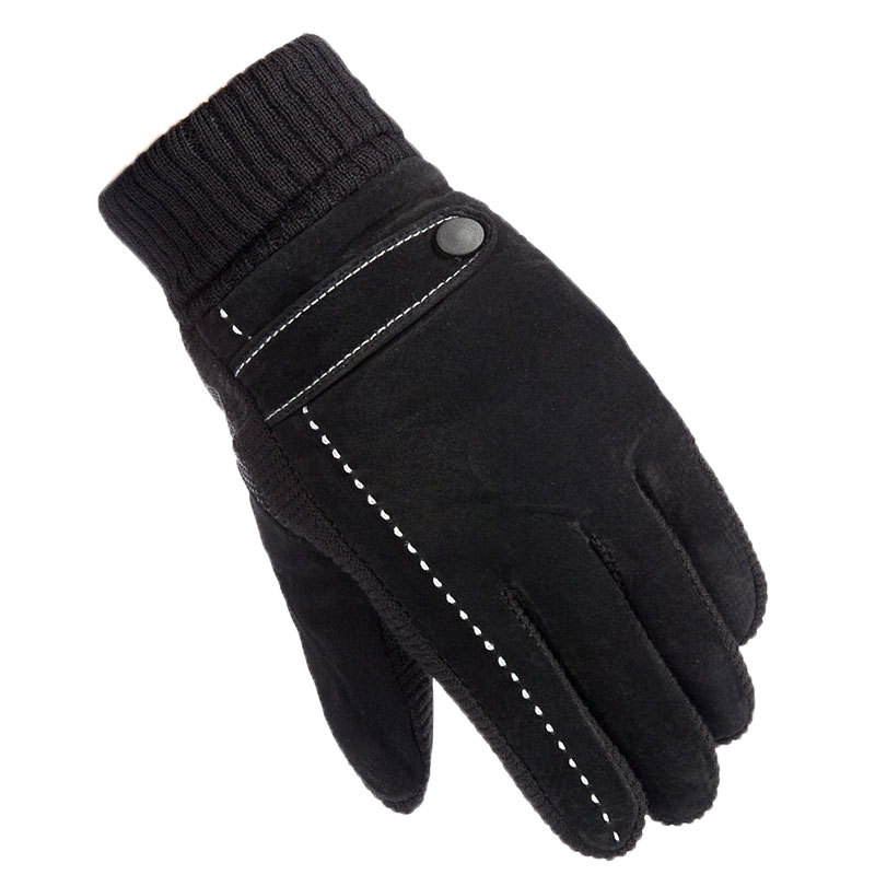 Winter Warm Leather Gloves Men Brushed And Thick Anti-slip Outdoor Sports Riding Driving Cold Windproof