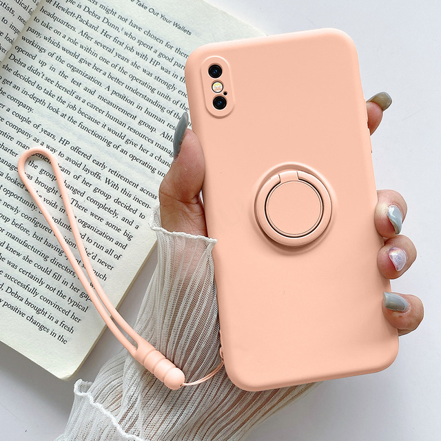 Strap Rope Cord Liquid Soft Silicone Case for IPhone 11 Pro Max X XR XS 7 8 Plus 6 6s Se 2020 Stand Ring Holder Cover Coque Capa