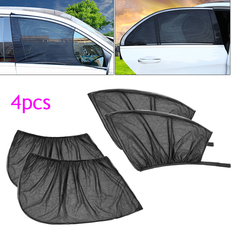 4Pcs Car Front+Rear Side Window Cover Sunshade Curtain UV Protection Shield Sun Shade Mesh Solar Mosquito Dust Car Accessories