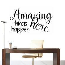 new Amazing things Happen Here Letter Removable Wall Sticker Wall Mirror Stickers DIY Art Wall Decor Stickers Bedroom Home Decor стоимость