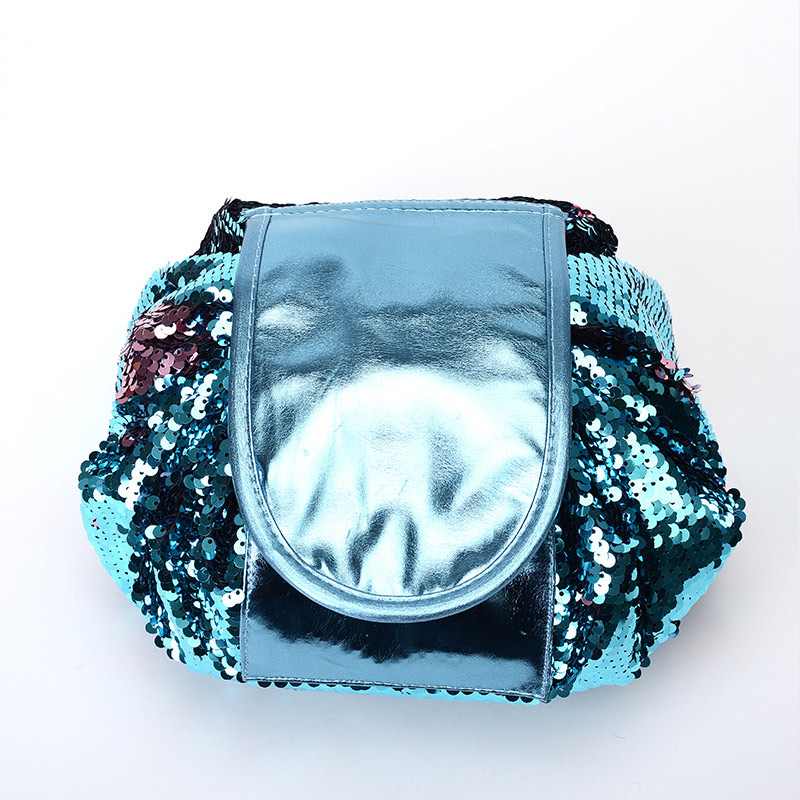 H67578952c6e541fcb72198f73b67ddc9f - New Mermaid Sequins Makeup Bag Pouch Glitter Sequins Cosmetic Bags Drawstring Shrink Storage Pack Portable Travel Toiletry Wash