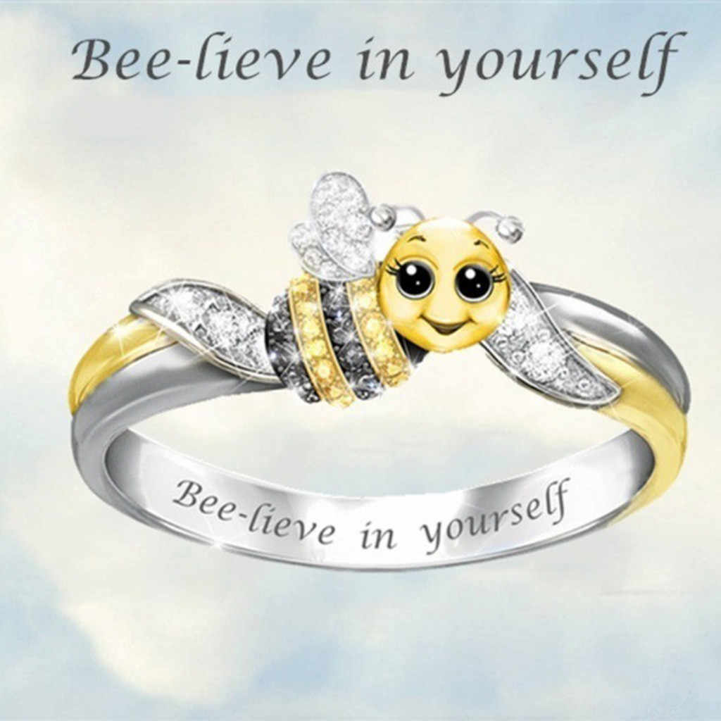"""""""Bee-Lieve In Jezelf"""" Zilver Leuke Zirkoon Bee Ringen Voor Bruid Bruiloft Engagement Ring Valentijnsdag gift Voor Vrouwen Sieraden"""