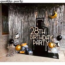 2M Wedding Backdrop Curtain Decoration Gold Happy Birthday Balloon Metallic Foil Rain Stand Photobooth