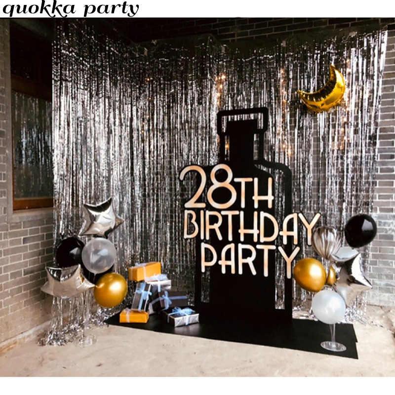 2m birthday backdrop curtain decoration gold happy birthday balloon metallic foil fringe curtain wedding photo booth backdrop