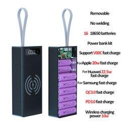 Welding Free 16*18650 Battery Storage Box PD QC3.0 USB 10W Fast Wireless Charging Power Bank Case 18650 Battery Holder Box