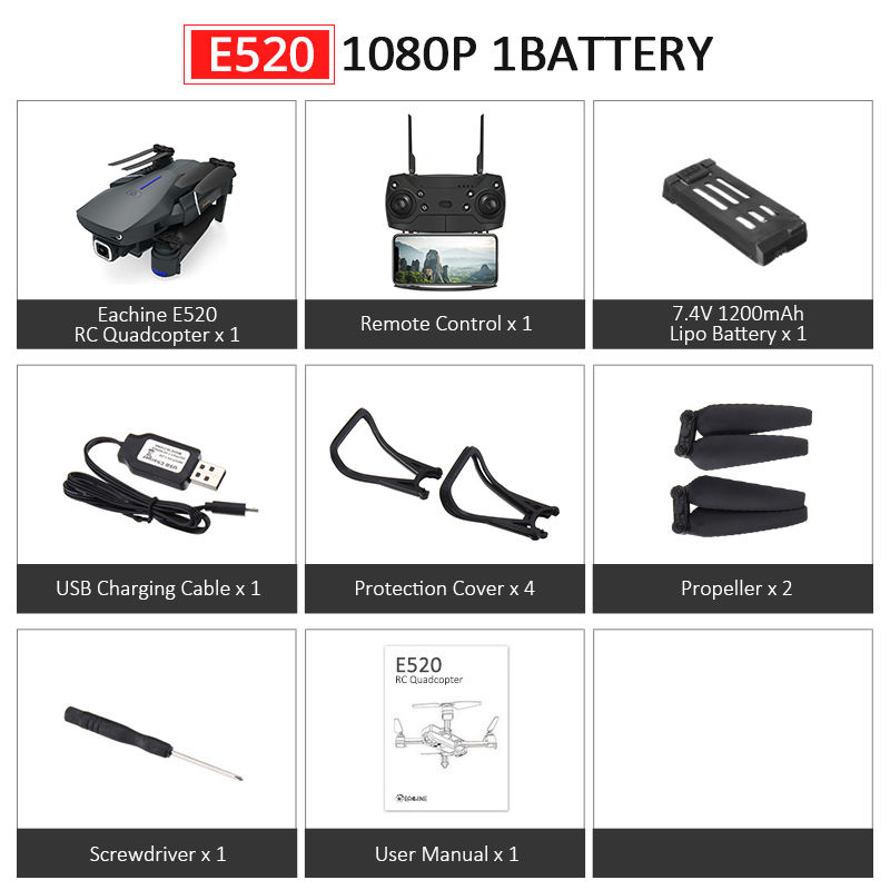 Eachine E520S E520 gps FOLLOW ME wifi FPV Квадрокоптер с 4 K/1080 P HD широкоугольная камера Складная Высота удержания прочный Радиоуправляемый Дрон - Цвет: E520 1080P 1B