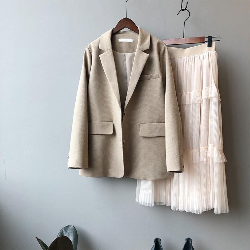 2020 New Women Spring Blazer Coat Turn Down Collar Women Vintage Coat Casaco Feminino Tops For Women Elegant Coat Outerwear
