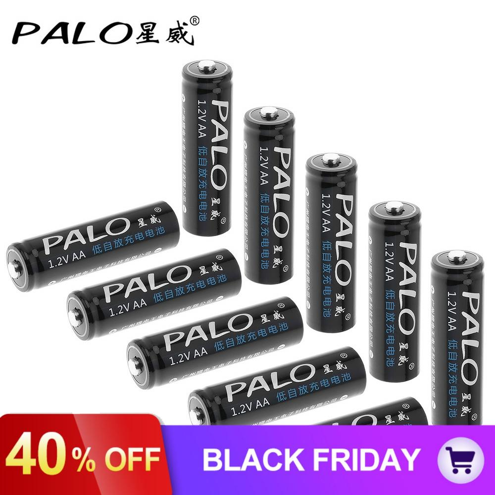 10pcs/lot PALO <font><b>1300mAh</b></font> <font><b>1.2V</b></font> <font><b>AA</b></font> <font><b>Battery</b></font> Ni-MH NiMH <font><b>AA</b></font> <font><b>Rechargeable</b></font> <font><b>Battery</b></font> with Low Discharge for Children's Toy Mouse Camera image