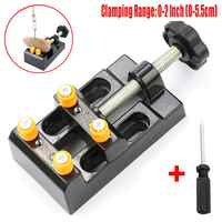 Universal Mini Drill Press Vise Clamp Table Bench Watch Repairing Clip On DIY Sculpture Craft Carving Bed Tool + Screwdriver