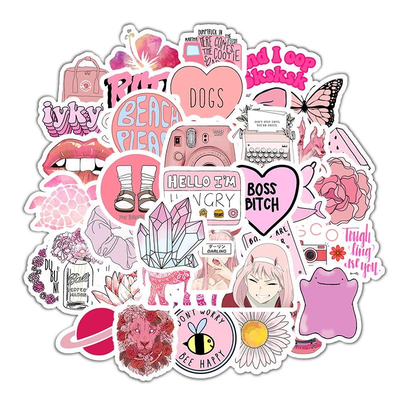 50 шт. мультяшный розовый INS стиль Vsco девушка наклейка s для ноутбука мото скейтборд багаж холодильник ноутбук игрушечный Ноутбук наклейка F5 Наклейки      АлиЭкспресс