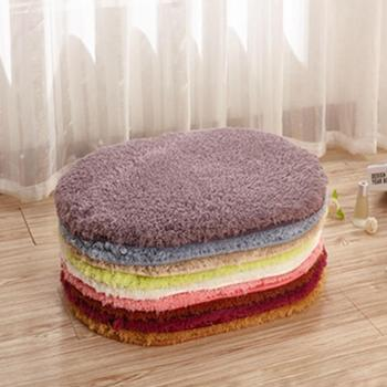 Water Absorbent Oval Plush Non-Slip Floor Mat Rug Living Room Doormat Carpet image