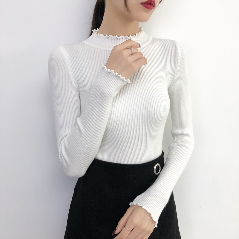 fit turtleneck Undercoat ruffle Sweater Women casual Knitted solid Sweater