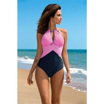 ESSV 2019 Women One Piece Push Up Swimsuit Patchwork Bodysuit Plus Size Swimwear Backless Cut Out Monokini Beach Bathing Suit