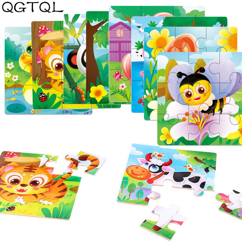 Baby Toys Wooden 3d Puzzle Cartoon Animal Intelligence Kids Educational Brain Teaser Children Tangram Shapes Learning Jigsaw Toy