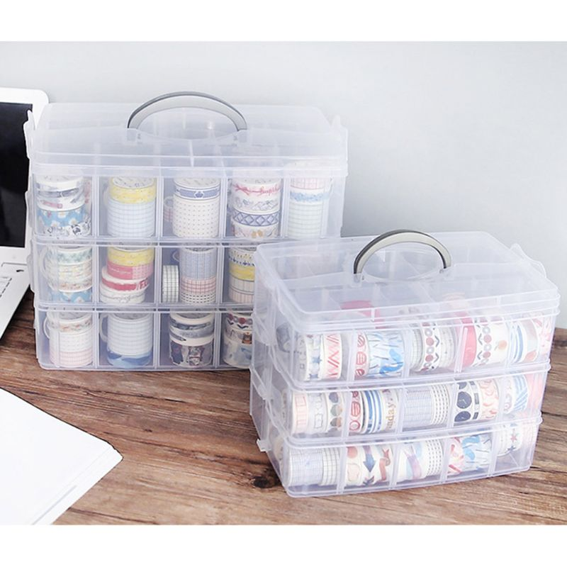 Clear Plastic Storage Box For Washi Tape Stationery Organizer Cosmetics Tape Sticker Art Supplies Case Holder S/M/L Size C26