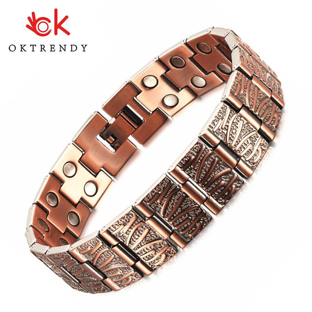 Oktrendy Red Copper Magnetic Bracelet for Men Women Double Row Magnet Healthy Energy Bracelets & Bangles Luxury Mens Jewellery