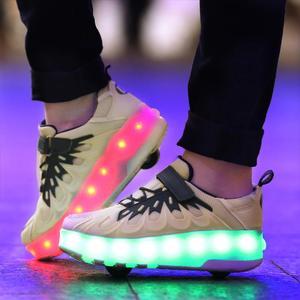 Image 4 - Schwarz Rosa Grau USB Lade Mode Mädchen Jungen LED Licht Rollschuh Schuhe Für Kinder Kinder Turnschuhe Mit Rädern Zwei räder