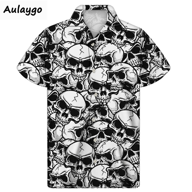 Cuban Guayabera Shirt Skull Print Beach Shirts 2020 Summer Fashion Casual Short Sleeve Button Down Hawaiian Cloth Mens Plus Size