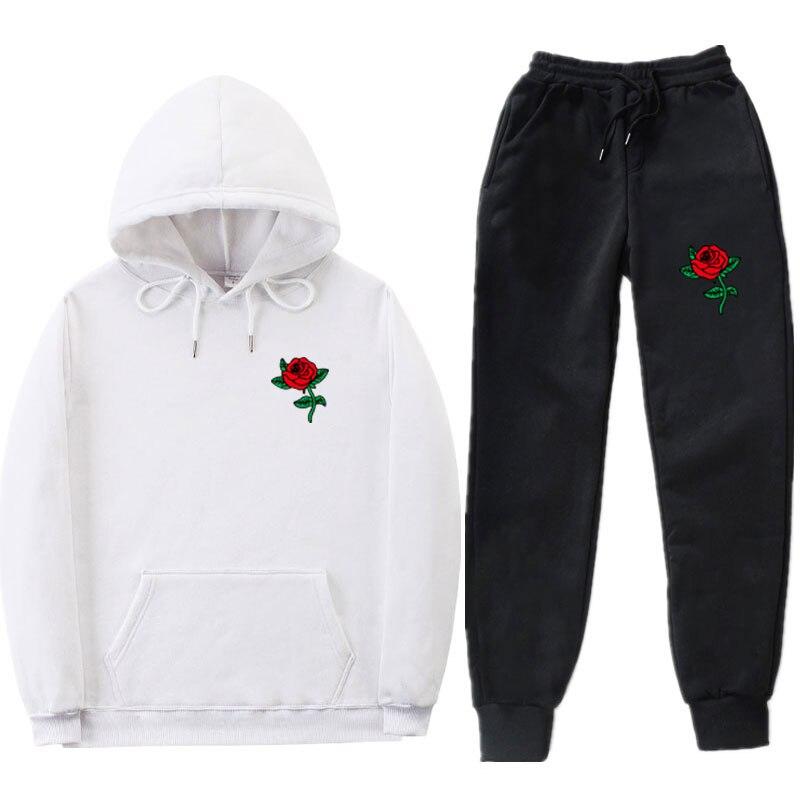 los hombres conjuntos hoodies + pants streetwear simple rose print hat hip-hop college student couple hoodies Men's sportswear