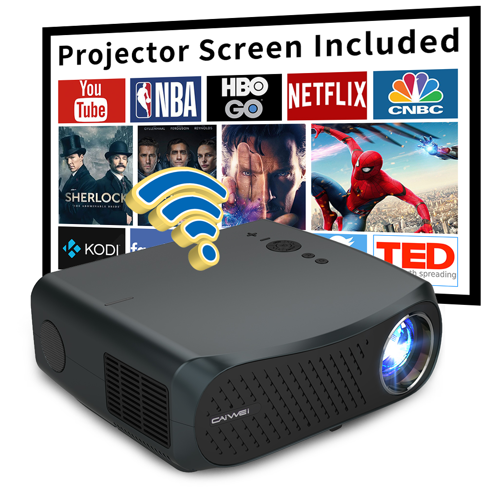CAIWEI A12 1080P Full HD проектор WIFI мультиэкранный проектор 1920x1080P смартфон Beamer 3D домашний кинотеатр видео кинотеатр