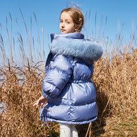 Luxury Princess Girls Down Jackets Large Real Fur Collar Glossy Thick Warm Girls Winter Coat 2020 New Winter Kids Snowsuit