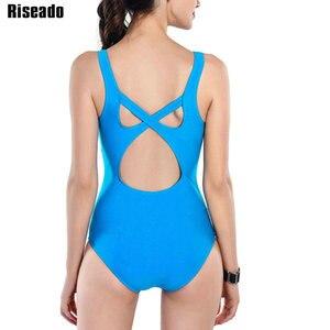 Image 2 - Costume da bagno intero Riseado Sport con cerniera costumi da bagno donna 2021 costume da bagno con fasciatura incrociata costume da bagno competitivo da spiaggia tagliato