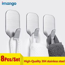 цена на 8 Pcs High-Quality Hooks Set Strong No Punch Glue Hook Key Kitchen Door Wall Waterproof Small Sticky Hook 304 Stainless Steel